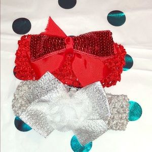 Other - Silver and Red Stretchy Newborn Baby Headbands